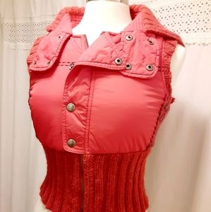 Free People Knitted Puffer Vest XS Womens Red Slee